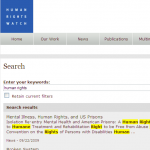 Human Rights Watch - Exemple de site utilisant Solr